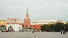 The State Kremlin Palace and Troitskaya Tower in Moscow Stock Footage