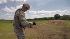 Soldiers in field training detonate explosives. Stock Footage