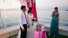 Awesome wedding on the sea sunset Stock Footage