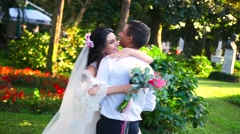 Bride and groom laughing Stock Footage
