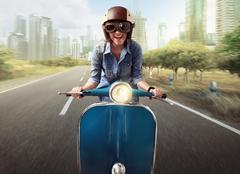 Asian women riding a blue scooter Kuvituskuvat