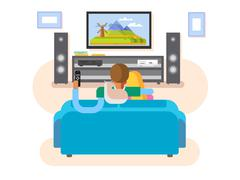 Interior home cinema Stock Illustration