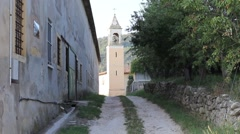 Bell tower of Campolongo in San Germano dei Berici, a rural hamlet in Veneto Stock Footage