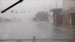 National Guard vehicles patrol during a large storm. Stock Footage
