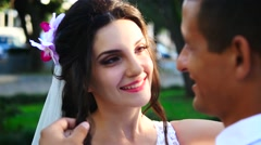 Bride smiling to groom Stock Footage