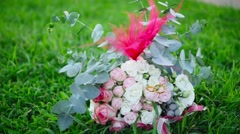 The bride's bouquet with rings Stock Footage