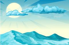 Stormy seascape background Stock Illustration