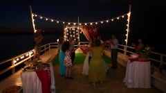 Wedding dancing on the sea Stock Footage