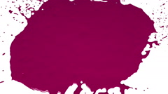Pink drops falls and splatters on white. Colored paint Stock Footage