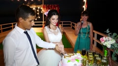 The bride and groom cut the cake on the seafront Stock Footage