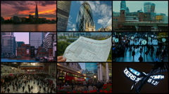 London 4K Video Wall with Financial Landmarks Stock Footage