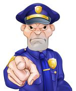 Angry Pointing Police Officer Stock Illustration