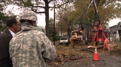 News footage of the mayor of Washington D.C. touring storm damaged areas  Stock Footage