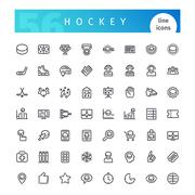 Hockey Line Icons Set Stock Illustration