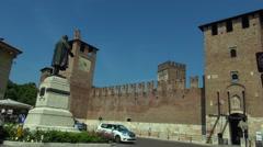 Ponte Scaligero and Castelvecchio, medieval landmarks Verona Stock Footage