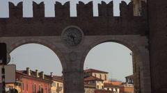 Portoni della Bra, medieval gate in Verona Stock Footage