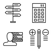 Set Of Project Management Icons On Decision Making, Personality And Best Solu Stock Illustration