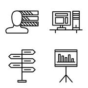 Set Of Project Management Icons On Decision Making, Personality And Statistic Stock Illustration
