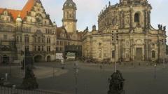 Katholische Hofkirche and Residenzschloss in Dresden Stock Footage