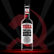 Vector vodka bottle mockup with your label here Stock Illustration
