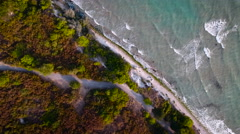 Aerial view of wave, sea and sandy beach. Perspective is straight down. Stock Footage