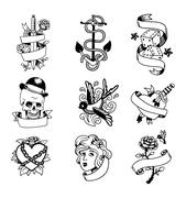 Old vintage tattoo vector illustration Stock Illustration