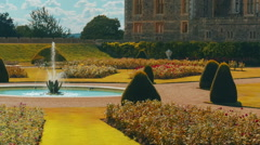 Telephoto View of the West Wing of Windsor Castle and Gardens in Berkshire, UK Stock Footage