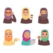 Arabic woman vector set Stock Illustration