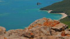 Jib Shot Revealing the Beautiful Beaches and Hills at Arrabida, Setubal, Portuga Stock Footage