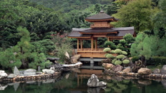 Pond and lanscape of China park Stock Footage