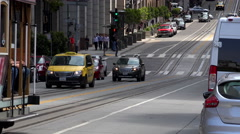 Cable car San Francisco riding downhill Stock Footage