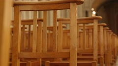 Western style religious building interior with chairs in a row 4K 2160p 30fps Stock Footage