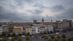 4k High angle shot cityscape traffic clouds timelapse Braunschweig Stock Footage