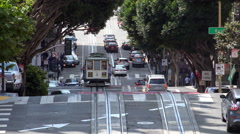 Cable car San Francisco riding uphill Stock Footage