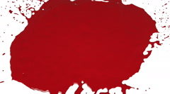 Red drops falls and splatters on white. Colored paint Stock Footage