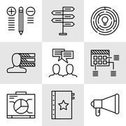 Set Of Project Management Icons On Decision Making, Personality And Team Meet Stock Illustration