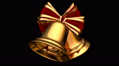 Christmas bells UHD 3D seamless animation with alpha mask Stock Footage