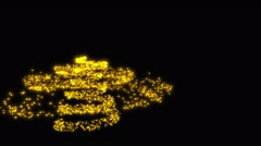Christmas tree shape with golden stars - black background Stock Footage
