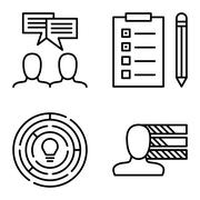 Set Of Project Management Icons On Personality, Idea Brainstorming And Creati Stock Illustration