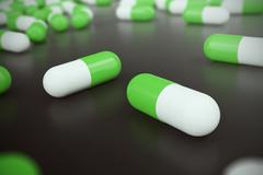 Heap of green white round capsule pills with medicine antibiotic in packages on Stock Illustration