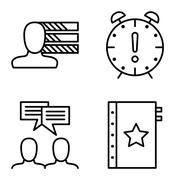 Set Of Project Management Icons On Personality, Idea Brainstorming And Deadli Stock Illustration