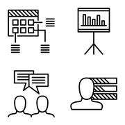 Set Of Project Management Icons On Personality, Idea Brainstorming And Planni Stock Illustration