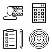 Set Of Project Management Icons On Personality, Creativity And Task List. Pro Stock Illustration