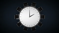 Conference table changes time watch, indicated 2 o'clock. business room. Stock Footage