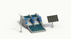 Wind turbine, Solar penel generator, Water power dam, Green energy.2 Stock Footage