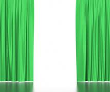 Green silk curtains for theater and cinema spotlit light in the center. 3d Stock Illustration