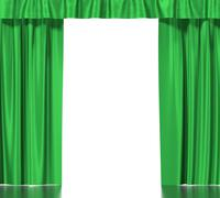 Green silk curtains with garter isolated on white background. 3d illustration Stock Illustration