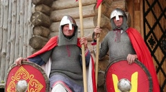 Two knights in armours in Kyivan Rus park, Kopachiv village, Ukraine Stock Footage