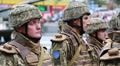 Warriors in military uniform at the military parade in Kiev, Ukraine Footage