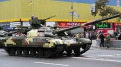Ceremonial parade of military hardware in Kiev, Ukraine Stock Footage